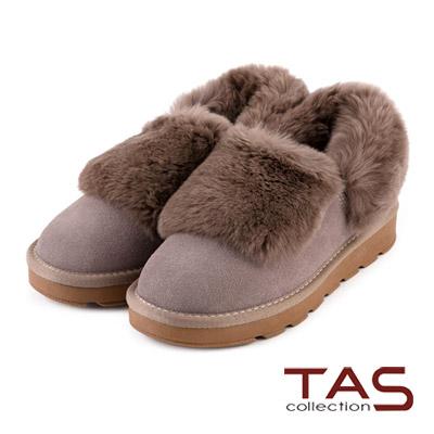TAS-太妃Q系列-兔毛翻領造型可愛暖暖雪靴-溫暖