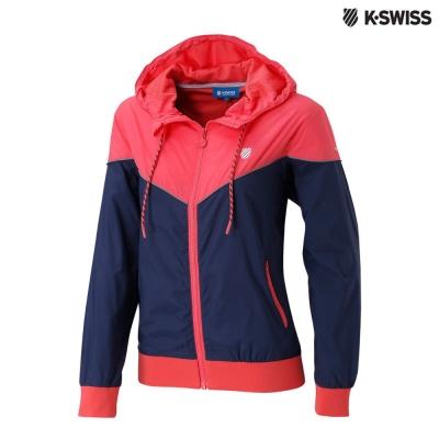 K-Swiss Basic Windbreaker風衣外套-女-莓紅/黑