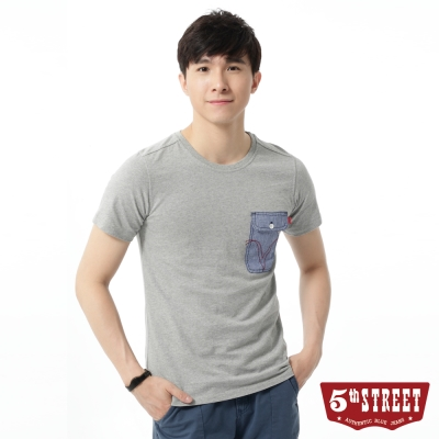 5th STREET T恤 簡約造型口袋T恤-男-麻灰