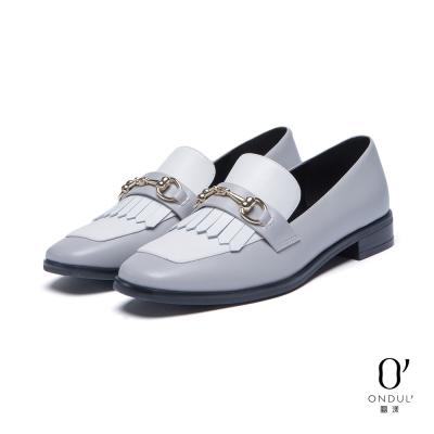 達芙妮x高圓圓 圓漾系列 平底鞋-流蘇撞色方頭樂福鞋-灰