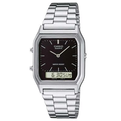 CASIO 銀色時尚復古雙顯指針錶(AQ-230A-1)-黑