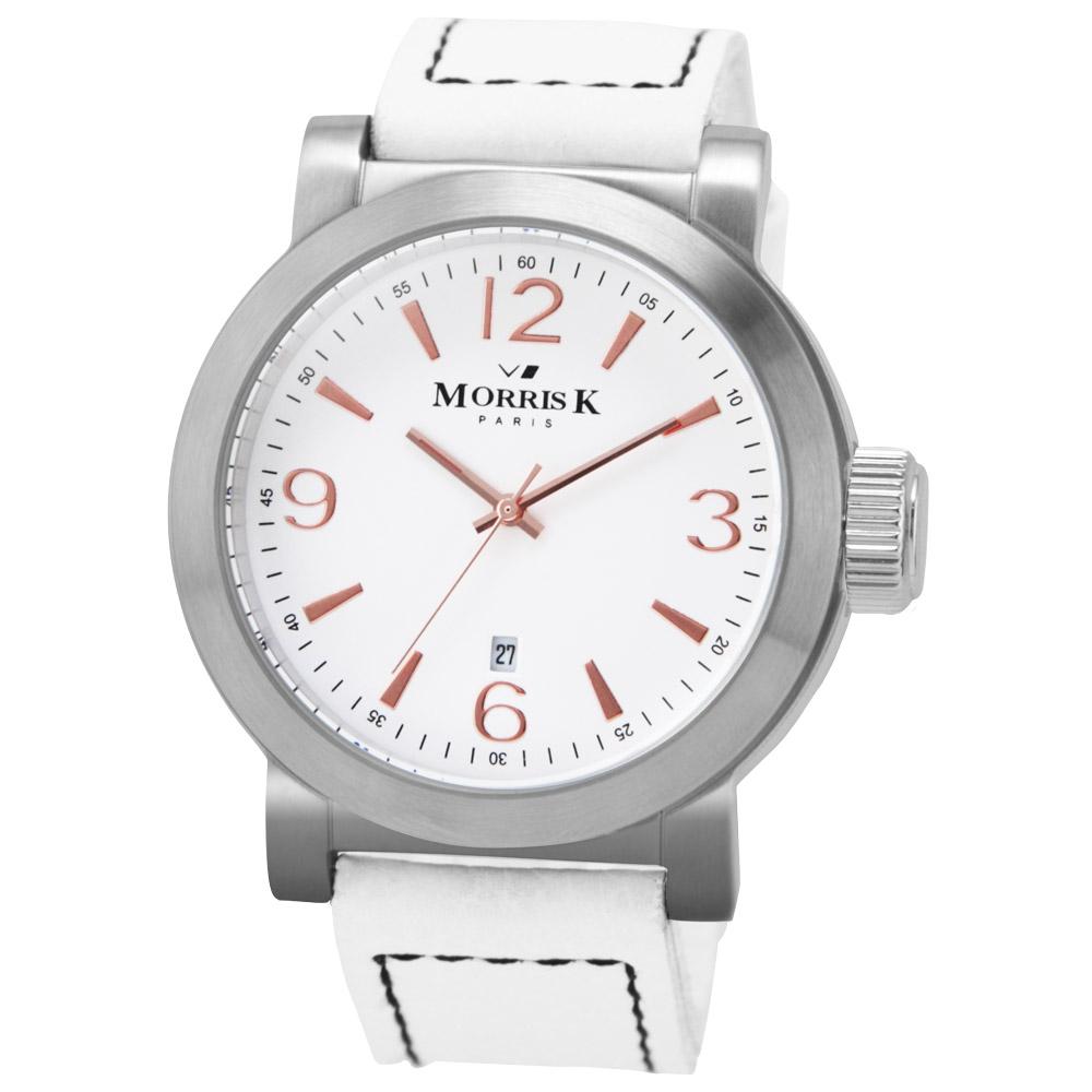 MORRIS K 經典復古大三針時尚腕錶-白x玫瑰金/43mm