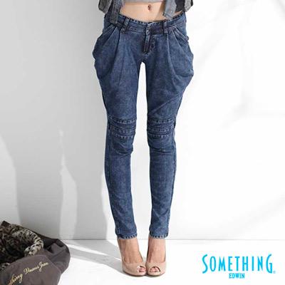 SOMETHING-LADIVA低腰飛鼠褲-女款-原藍色