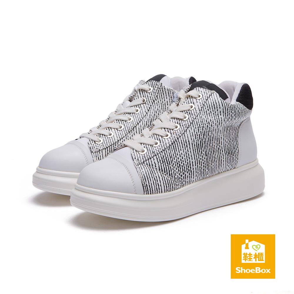 達芙妮DAPHNE ShoeBox系列 平底鞋-高筒綁帶條紋休閒鞋-白8H