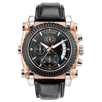 LOVME 義大利風格設計腕錶-黑色/45.5mm