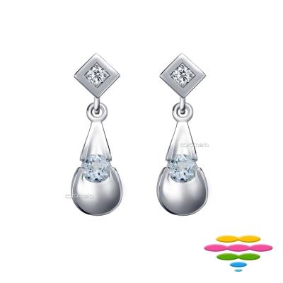 彩糖鑽工坊 鑽石&海藍寶 耳環 藍色序曲系列