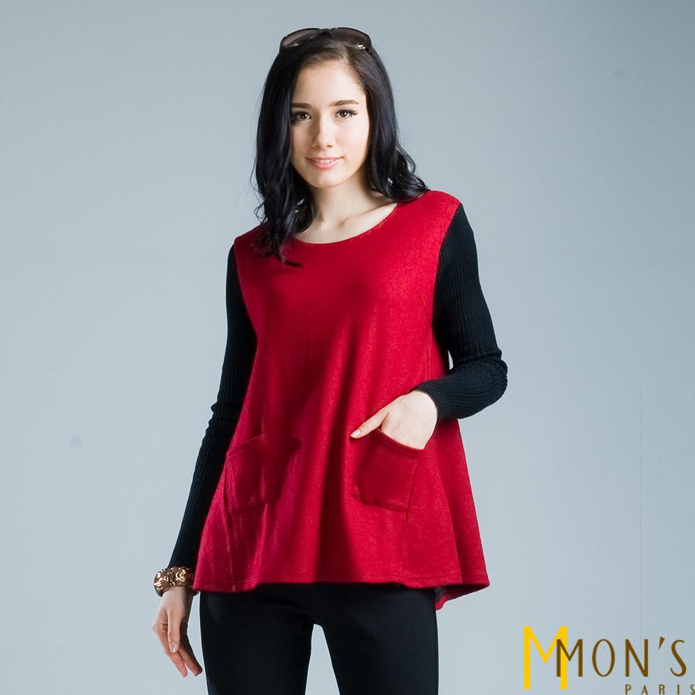 MONS寬鬆小口袋上衣共二色-紅色