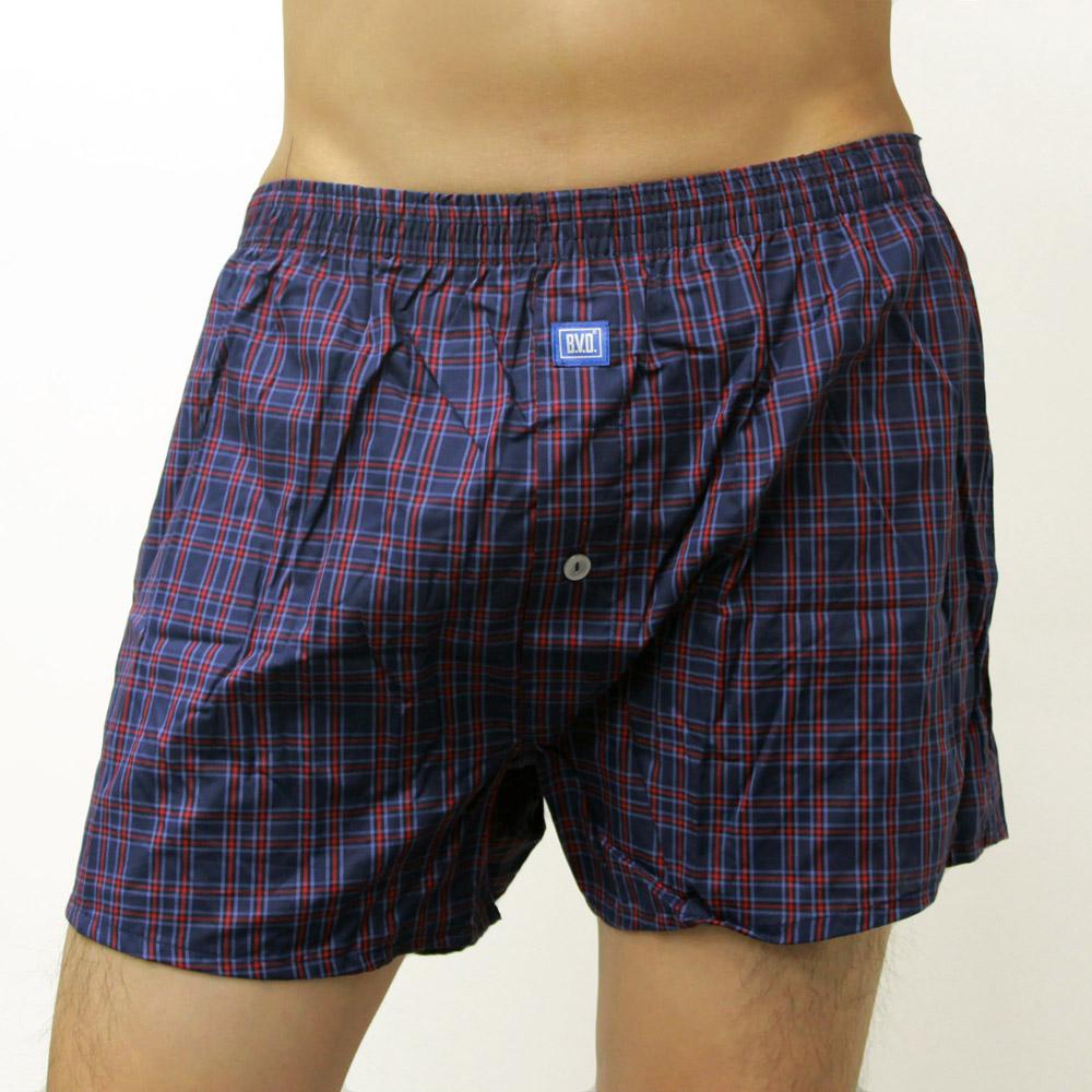 BVD  全棉平口四角褲(簡約藍底紅格紋)