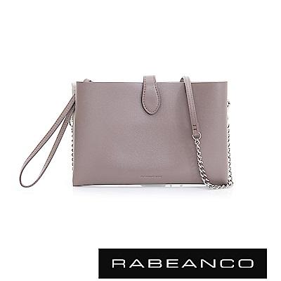 RABEANCO 迷時尚牛皮系列多夾層鏈帶手拎包 -灰卡其