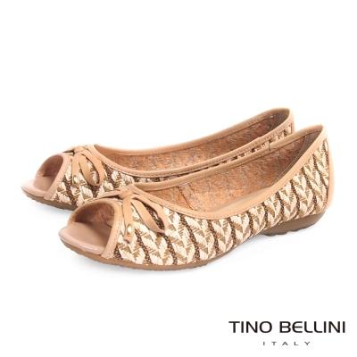 Tino Bellini 巴西進口工藝圖騰編織平底魚口娃娃鞋_淺駝