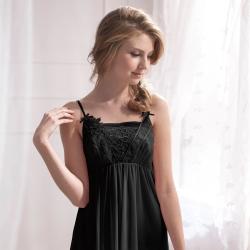 羅絲美睡衣 - 典雅迷人性感洋裝睡衣 (性感黑)