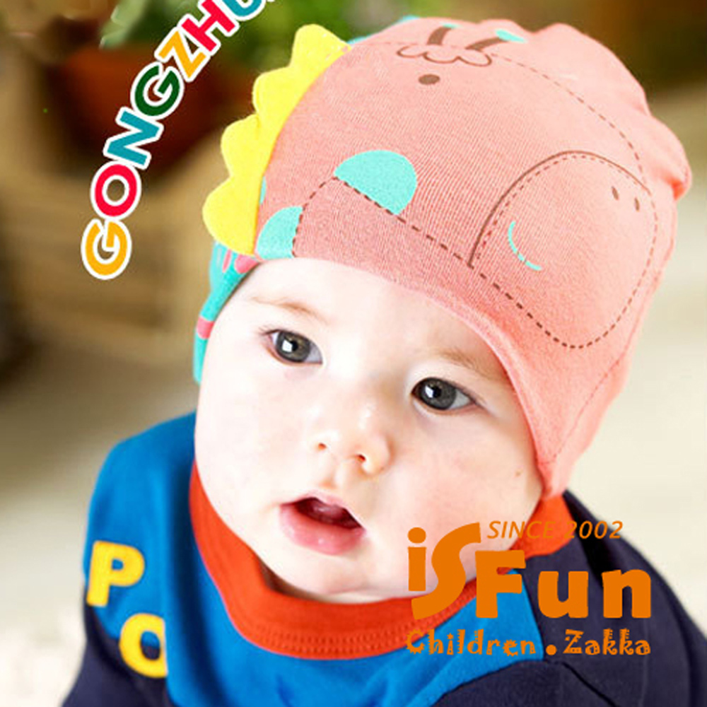 iSFun 元氣長頸鹿 立體彈性嬰兒棉帽 紅綠