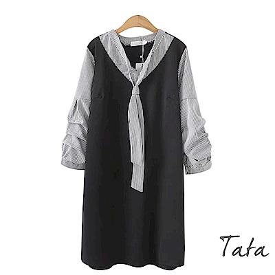 假兩件式九分袖綁帶條紋洋裝 TATA