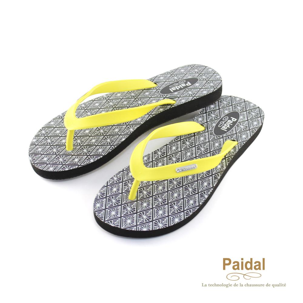 Paidal 菱形紋海灘拖鞋人字拖鞋-黃