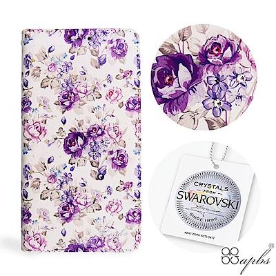 apbs OPPO R11s Plus 施華洛世奇水晶鑽皮套-紫薔薇