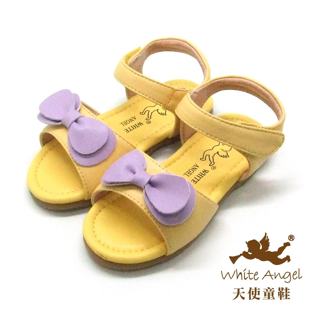 天使童鞋-F5043 快樂蝴蝶結涼鞋 (小童)-亮麗黃