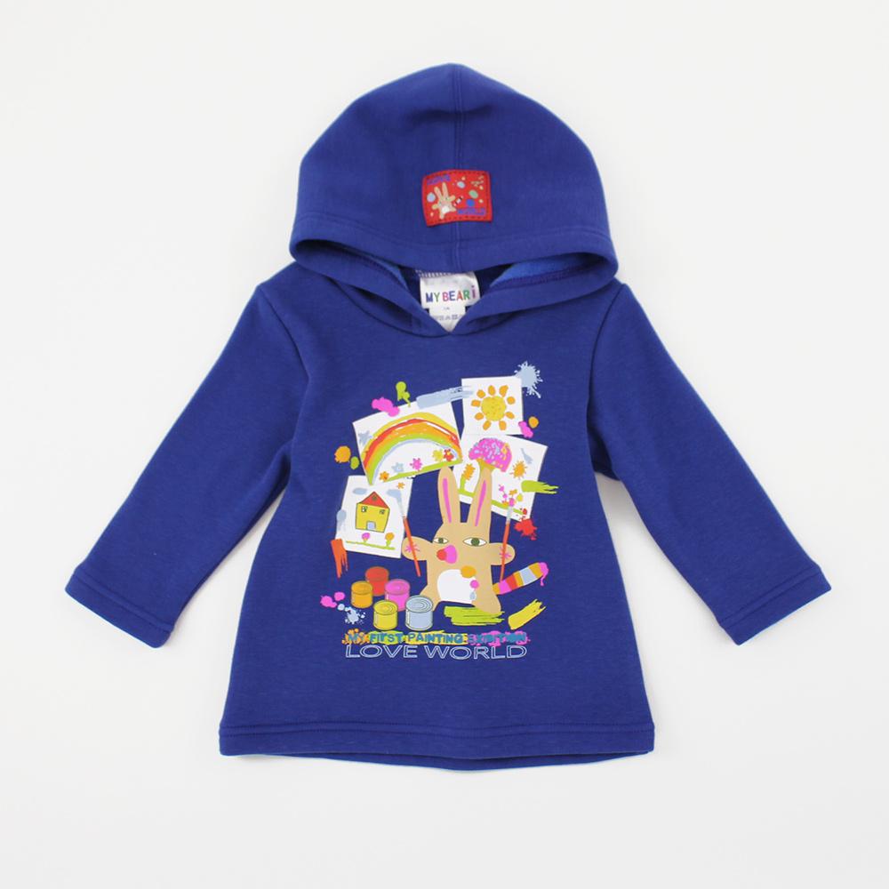 愛的世界 MYBEAR 彈性內刷毛印圖連帽長袖上衣/1~4歲