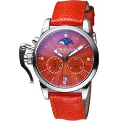 GRAHAM格林漢 左冠月色銀光計時時尚腕錶-紅色/36mm