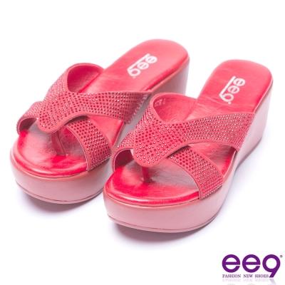 ee9 經典手工鑲嵌水鑽露趾楔型跟夾腳拖鞋-紅色