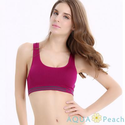 運動內衣 條紋鬆緊帶挖背式運動內衣 (紫紅色)-AQUA Peach