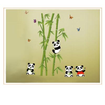B-091花草系列-熊貓上樹 大尺寸高級創意壁貼 / 牆貼