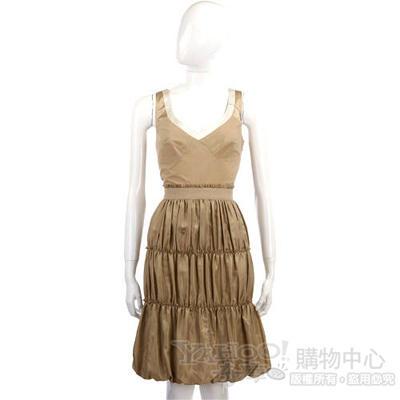 PHILOSOPHY-AF 金色下擺抓皺設計洋裝
