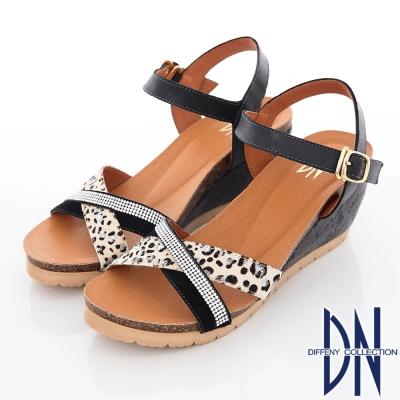 DN 性感魅力 MIT耀眼豹紋牛皮楔型涼鞋 黑