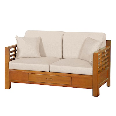 AT HOME-日式簡約格林柚木實木扶手雙人沙發(139*78*75cm)