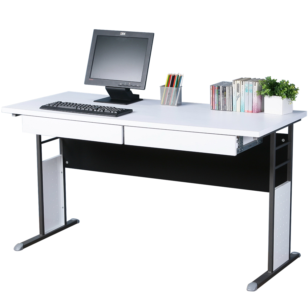 Homelike 巧思辦公桌 炫灰系列-白色加厚桌面140cm(附二抽屜)