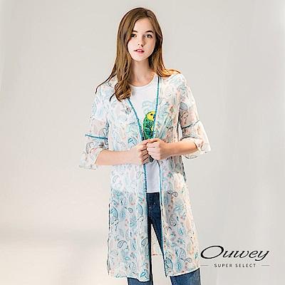 OUWEY歐薇 民俗風印花七分荷葉袖長版外套(白)