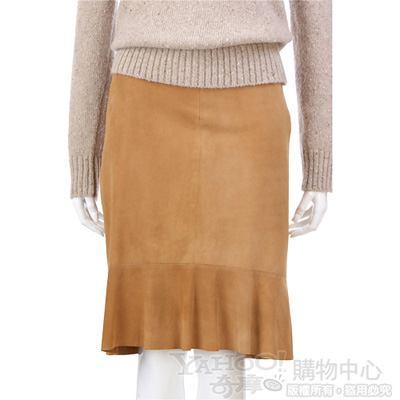 SIMULTANEOUS 駝色麂皮抓皺及膝裙