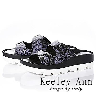 Keeley Ann 美式嬉皮~個性暈染真皮軟墊厚底拖鞋(黑色)