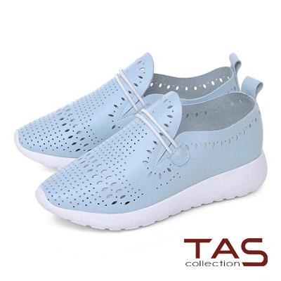 TAS 牛皮打洞造型繫繩休閒鞋-水色藍
