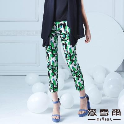 麥雪爾-絢麗抽象印花棉質修身九分褲