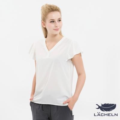LACHELN-輕柔雪紡彈力涼爽V領衫-白-L72