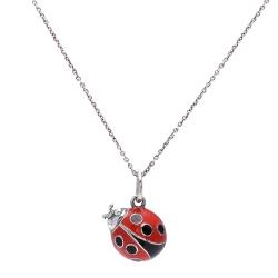 TIFFANY&Co. LADYBUG系列琺瑯瓢蟲吊墜950項鍊(銀X紅)