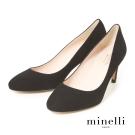 Minelli--西班牙製造 全真皮羊素面高跟鞋-性感黑