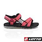 LOTTO 義大利 女 潮流織帶涼鞋 (珊瑚紅)