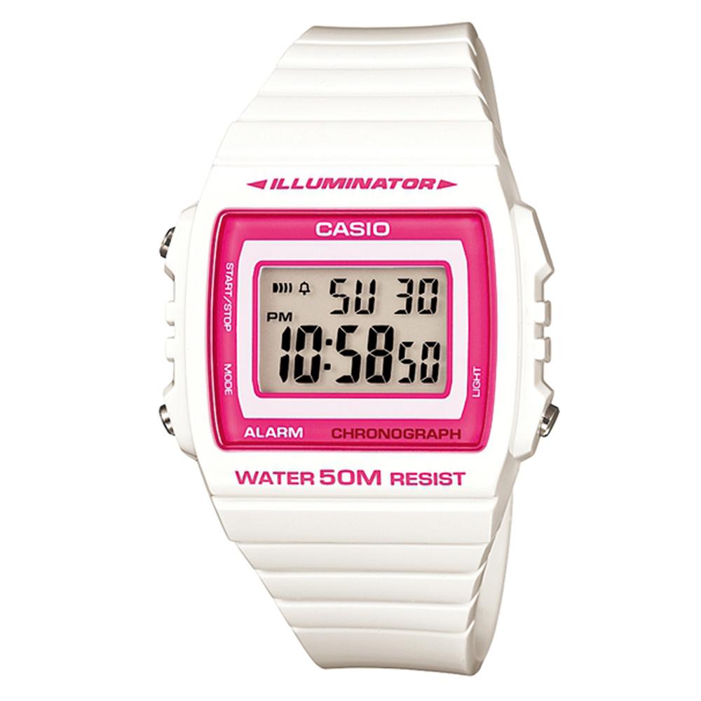 CASIO 超亮LED大螢幕方形數位錶(W-215H-7A2)-白/桃紅框 40mm