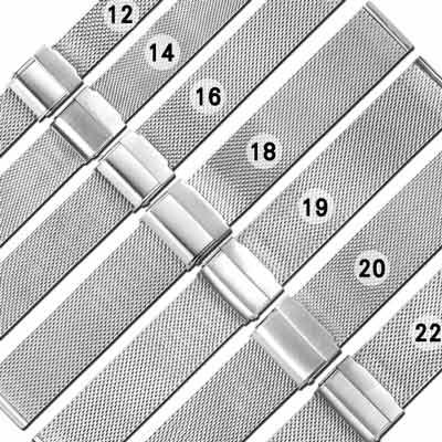 Watchband / DW替用 各品牌通用透亮米蘭編織不鏽鋼錶帶-銀色