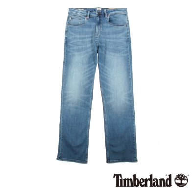Timberland-男款藍色刷白直筒牛仔褲