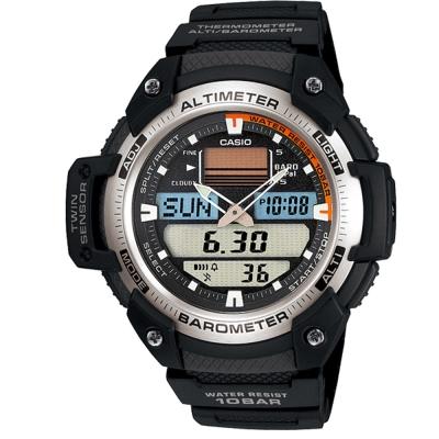 CASIO 新機能戶外雙顯運動錶(SGW-400H-1B)-銀白圈/51.9mm