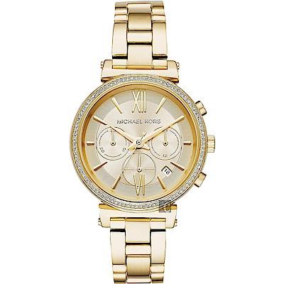 Michael Kors 愛在紐約晶鑽計時手錶-金/38mm