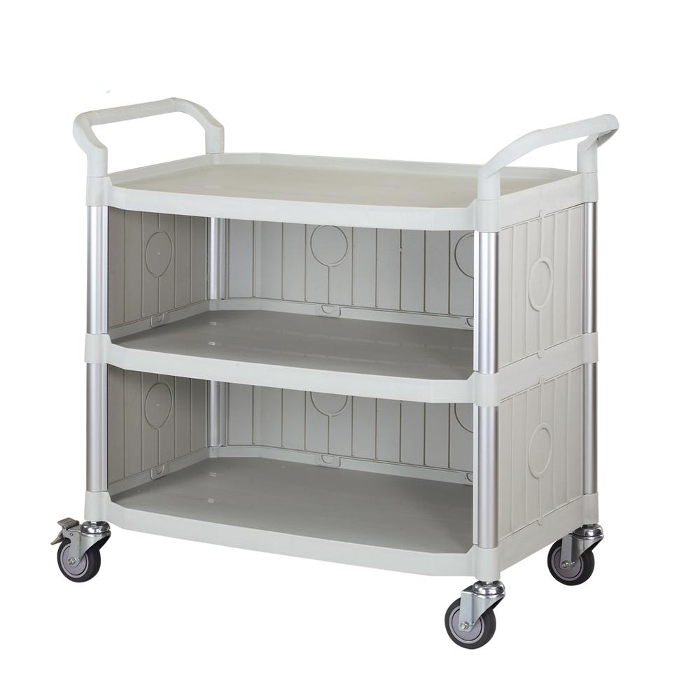 100%台灣製 大台面多功能三層圍邊工具餐車/手推車/置物架-優雅白