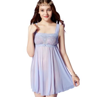思薇爾 芭紗花園系列蕾絲刺繡性感連身小夜衣(紫繡球)