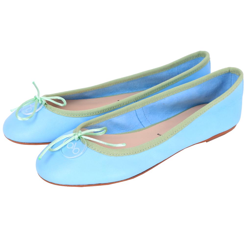 anna baiguera Annette 拼色滾邊蝴蝶結芭蕾舞鞋(水藍x綠)