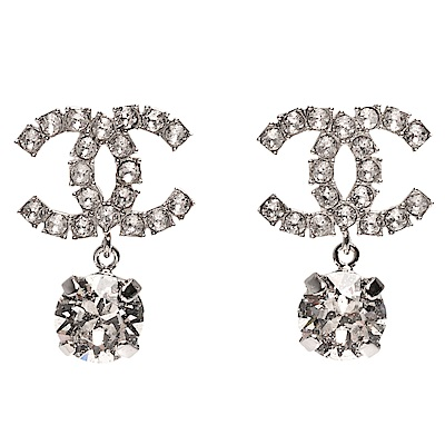CHANEL 經典雙C LOGO水鑽鑲嵌墜飾穿式耳環(銀)
