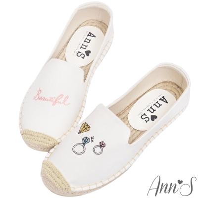 Ann'S鑽石亮晶晶手繪刺繡草編鞋-白
