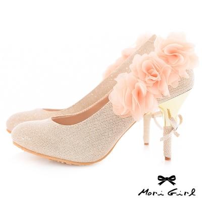 Mori girl名媛花漾.細紗花朵金色鞋跟高跟鞋 杏