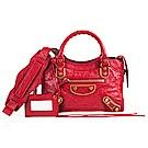 Balenciaga Metallic Edge金釦金屬邊Mini city機車包 紅色